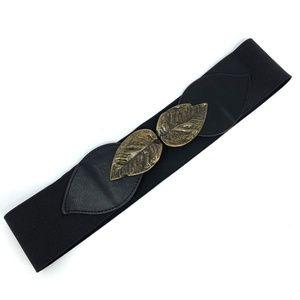 Urban Outfitters Kimchi Blue Black Leaf Waist Belt